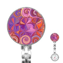 Candy Abstract Pink, Purple, Orange Stainless Steel Nurses Watch by digitaldivadesigns