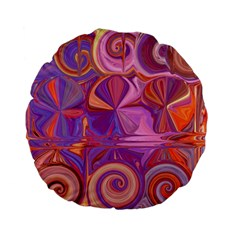 Candy Abstract Pink, Purple, Orange Standard 15  Premium Flano Round Cushions by digitaldivadesigns