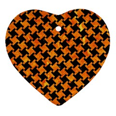 Houndstooth2 Black Marble & Orange Marble Ornament (heart) by trendistuff