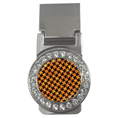 Houndstooth2 Black Marble & Orange Marble Money Clip (cz) by trendistuff