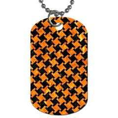 Houndstooth2 Black Marble & Orange Marble Dog Tag (two Sides) by trendistuff