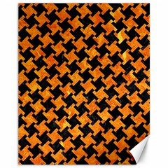 Houndstooth2 Black Marble & Orange Marble Canvas 11  X 14  by trendistuff