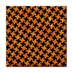 Houndstooth2 Black Marble & Orange Marble Face Towel by trendistuff