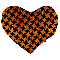 Houndstooth2 Black Marble & Orange Marble Large 19  Premium Heart Shape Cushion by trendistuff
