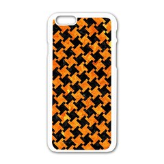 Houndstooth2 Black Marble & Orange Marble Apple Iphone 6/6s White Enamel Case by trendistuff