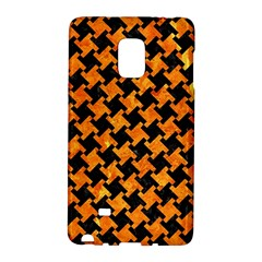 Houndstooth2 Black Marble & Orange Marble Samsung Galaxy Note Edge Hardshell Case by trendistuff