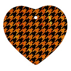 Houndstooth1 Black Marble & Orange Marble Ornament (heart) by trendistuff