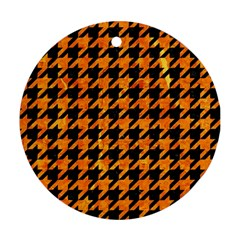 Houndstooth1 Black Marble & Orange Marble Round Ornament (two Sides) by trendistuff