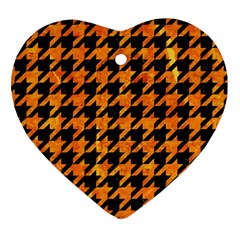 Houndstooth1 Black Marble & Orange Marble Heart Ornament (two Sides)