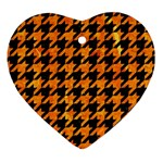 HOUNDSTOOTH1 BLACK MARBLE & ORANGE MARBLE Heart Ornament (Two Sides) Front