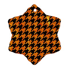 Houndstooth1 Black Marble & Orange Marble Snowflake Ornament (two Sides) by trendistuff