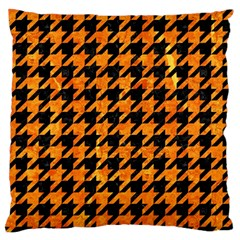 Houndstooth1 Black Marble & Orange Marble Large Flano Cushion Case (two Sides) by trendistuff