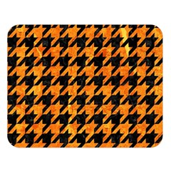 Houndstooth1 Black Marble & Orange Marble Double Sided Flano Blanket (large) by trendistuff