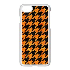Houndstooth1 Black Marble & Orange Marble Apple Iphone 7 Seamless Case (white)