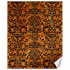 Damask2 Black Marble & Orange Marble (r) Canvas 16  X 20  by trendistuff
