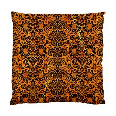 Damask2 Black Marble & Orange Marble (r) Standard Cushion Case (two Sides) by trendistuff
