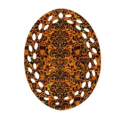 Damask2 Black Marble & Orange Marble (r) Oval Filigree Ornament (two Sides) by trendistuff
