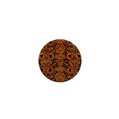 Damask2 Black Marble & Orange Marble 1  Mini Button by trendistuff
