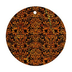 Damask2 Black Marble & Orange Marble Round Ornament (two Sides) by trendistuff