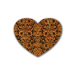 Damask2 Black Marble & Orange Marble Rubber Heart Coaster (4 Pack) by trendistuff