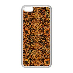 Damask2 Black Marble & Orange Marble Apple Iphone 5c Seamless Case (white) by trendistuff