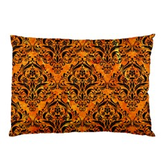 Damask1 Black Marble & Orange Marble (r) Pillow Case by trendistuff