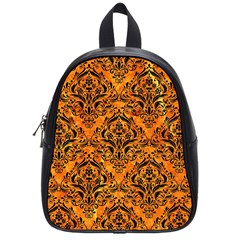 Damask1 Black Marble & Orange Marble (r) School Bag (small) by trendistuff