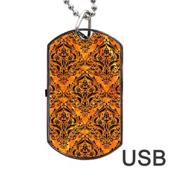 Damask1 Black Marble & Orange Marble (r) Dog Tag Usb Flash (one Side) by trendistuff
