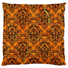 Damask1 Black Marble & Orange Marble (r) Large Flano Cushion Case (two Sides) by trendistuff