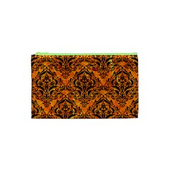 Damask1 Black Marble & Orange Marble (r) Cosmetic Bag (xs) by trendistuff