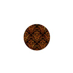 Damask1 Black Marble & Orange Marble 1  Mini Button by trendistuff