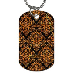 Damask1 Black Marble & Orange Marble Dog Tag (two Sides) by trendistuff