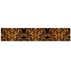 Damask1 Black Marble & Orange Marble Flano Scarf (large) by trendistuff