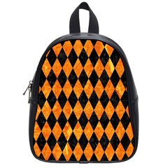 Diamond1 Black Marble & Orange Marble School Bag (small) by trendistuff