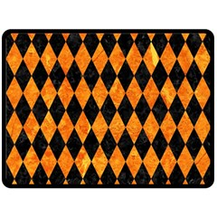 Diamond1 Black Marble & Orange Marble Fleece Blanket (large)