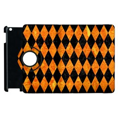 Diamond1 Black Marble & Orange Marble Apple Ipad 2 Flip 360 Case by trendistuff