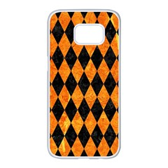 Diamond1 Black Marble & Orange Marble Samsung Galaxy S7 Edge White Seamless Case by trendistuff