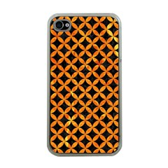Circles3 Black Marble & Orange Marble Apple Iphone 4 Case (clear) by trendistuff