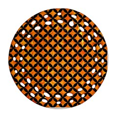 Circles3 Black Marble & Orange Marble (r) Ornament (round Filigree) by trendistuff