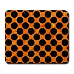 Circles2 Black Marble & Orange Marble (r) Large Mousepad by trendistuff