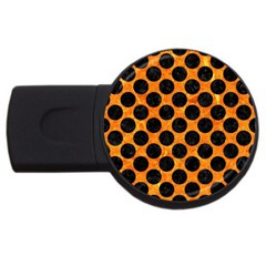 Circles2 Black Marble & Orange Marble (r) Usb Flash Drive Round (4 Gb) by trendistuff