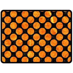 Circles2 Black Marble & Orange Marble Double Sided Fleece Blanket (large) by trendistuff