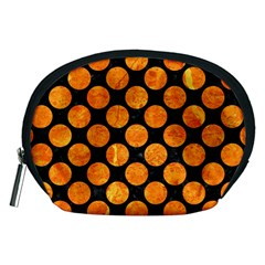 Circles2 Black Marble & Orange Marble Accessory Pouch (medium)