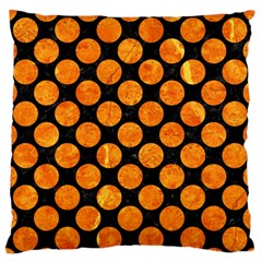 Circles2 Black Marble & Orange Marble Large Flano Cushion Case (one Side) by trendistuff