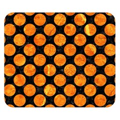 Circles2 Black Marble & Orange Marble Double Sided Flano Blanket (small) by trendistuff