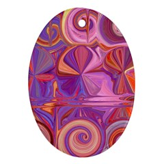 Candy Abstract Pink, Purple, Orange Oval Ornament (two Sides)