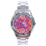 Candy Abstract Pink, Purple, Orange Stainless Steel Analogue Watch Front