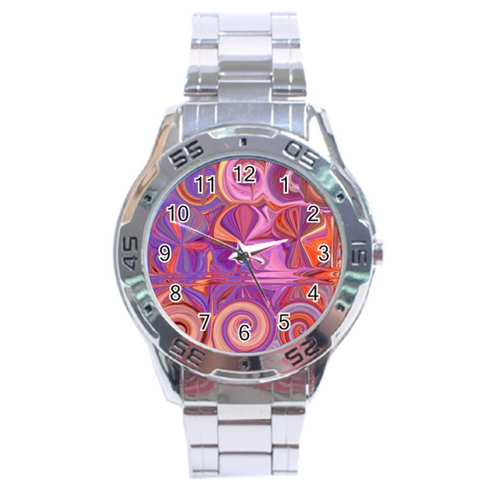 Candy Abstract Pink, Purple, Orange Stainless Steel Analogue Watch