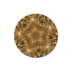 Elegant Gold Brown Kaleidoscope Star Magnet 3  (round) by yoursparklingshop