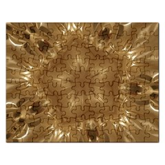 Elegant Gold Brown Kaleidoscope Star Rectangular Jigsaw Puzzl by yoursparklingshop